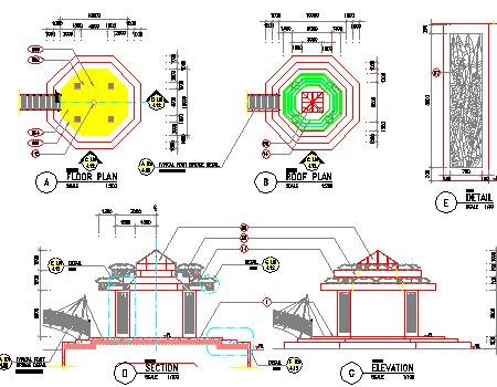 亭廊景观施工图