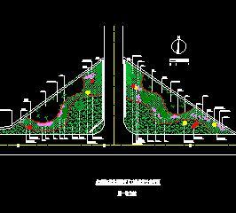 道路交叉口三角绿地绿化设计图纸