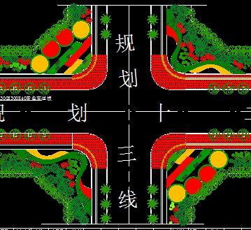 道路交叉点绿化设计图纸