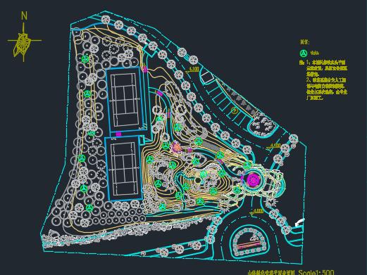 别墅入口山体景观工程施工设计图纸