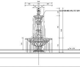 圆形花钵喷泉水景设计详图
