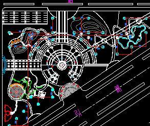 三角形喷泉广场喷灌平面设计图