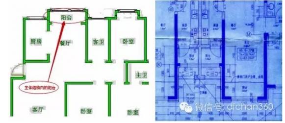 上面两图中的阳台均为主体结构内的阳台,应计算全面积.