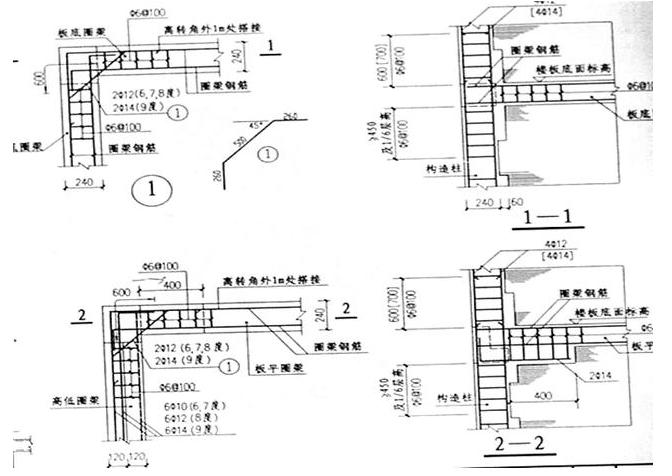 构造柱的计算 (1)砖混结构的构造柱设置位置:外墙四角、墙交接处、较大洞口两侧。 (2)构造柱上下加密500MM. (3)构造柱与墙设置拉结筋2Φ6@500,伸入墙长度1M. (4)横墙内构造柱间距不宜大于层高2倍。 砌体结构中挑梁计算