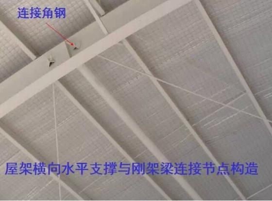 实腹式檩条可通过檩托与刚架斜梁连接,檩托可用角钢和钢板做成,檩条与檩托的连接螺栓不应少于2个,并沿檩条高度方向布置,见下图。设置檩托的目的是为了阻止檩条端部截面的扭转,以增强其整体稳定性。