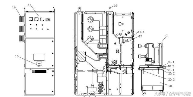 图一KYN进线或出线柜基本结构剖面图 A、母线室 B、断路器室 C、电缆室 D、低压室 1、母线 2、绝缘子 3、静触头4、触头盒 5、电流互感器6、接地开关 7、电缆终端 8、避雷器 9、零序电流互感器 10、断路器手车 10.1、滑动把手 10.2、锁键(联到滑动把手) 11、控制和保护单元 12、穿墙套管 13、丝杆机构操作孔 14、电缆夹 15.