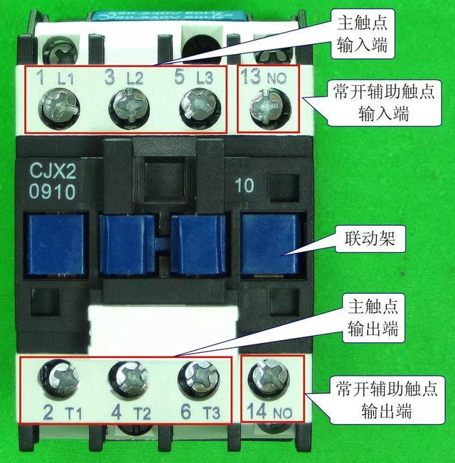安装辅助触点组 下图左边的交流接触器只有一个常开辅助触点,如果希望给它再增加一个常开触点和一个常闭触点,可以在该接触器上安装一个辅助触点组(在图的右边),安装时只要将辅助触点组底部的卡扣套到交流接触器的联动架上即可。当交流接触器的控制线圈通电时,除了自身各个触点会动作外,还通过联动架带动辅助触点组内部的触点动作。
