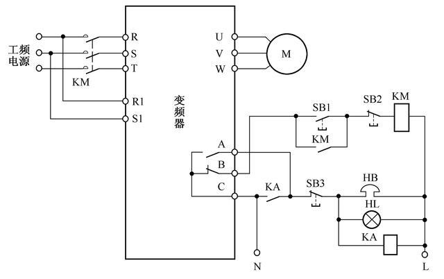 一个典型的工频与变频切换控制电路