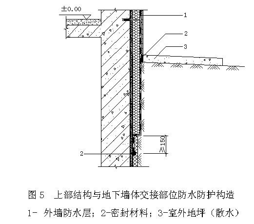 150mm,防水层收头应用密封材料封严(图);有保温的地下室外墙防水防护