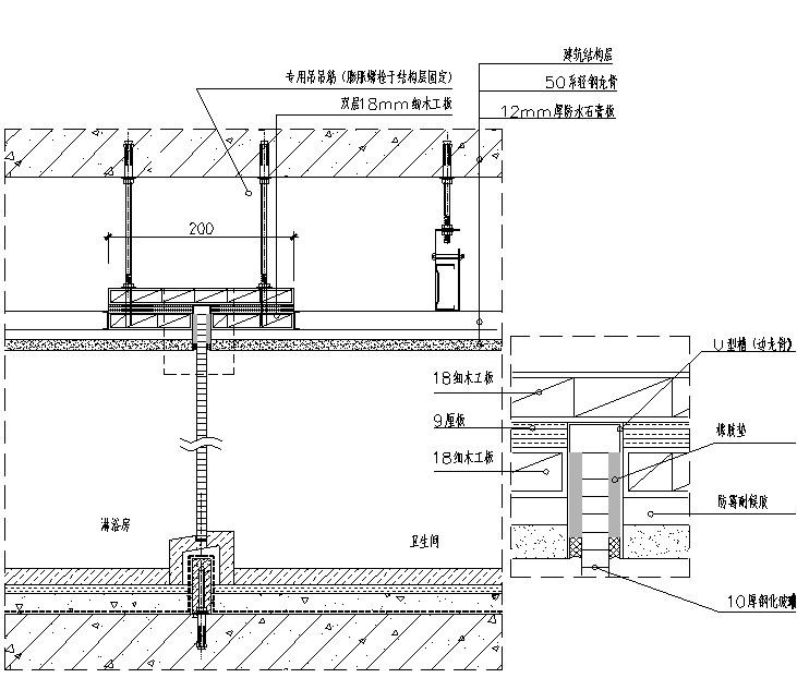 淋浴房玻璃隔断吊顶施工示意图主要内容