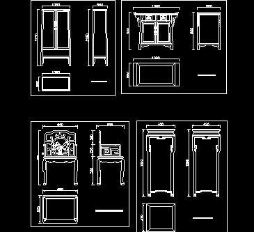 明清风格家具cad图块