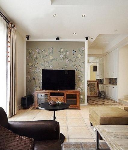 田园风格客厅电视背景墙 小户型的美 - 装修效果图