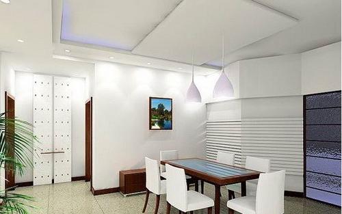 美式别墅吊顶 餐厅的装潢设计 - 装修效果图