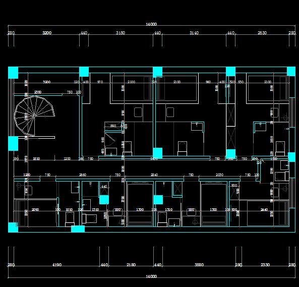 某小宾馆二层客房层全套装修施工图纸(含水电)包括原始框架图、一层立面索引、一层平面设计方案、一层平面尺寸图、一层顶面图、二层插座布置图、二层开关控制图等