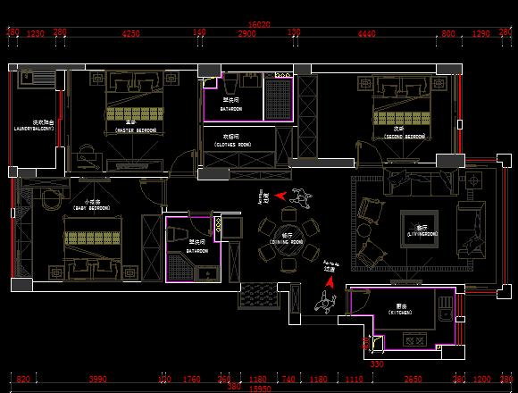 三居室住宅室内装修设计图纸(含水电施工实图)
