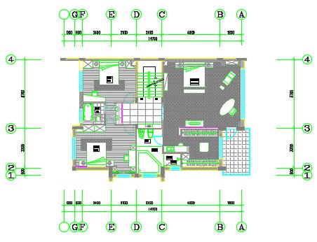 135平方米三层别墅装修施工图纸