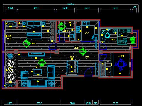 128平米三室两厅现代风住宅装修施工图纸