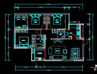 114平米中式住宅装修设计图纸