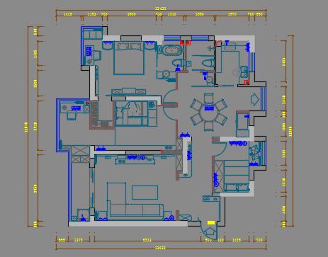 三室兩廳住宅室內裝飾設計圖紙