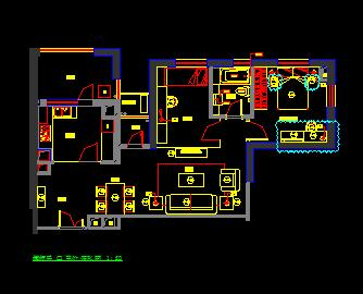 两房两厅样板房住宅装修施工图纸