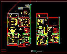 二层独栋豪华别墅装修施工图纸(六房四厅)