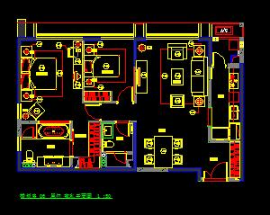 两房两厅两卫一厨住宅装修施工图纸