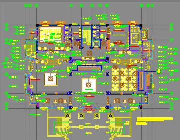 某指挥中心大楼办公楼装修设计图纸(含效果图)