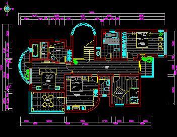 二层别墅装修施工图纸(五房两厅)