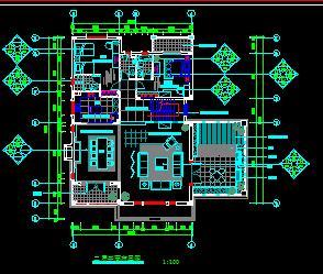 三层别墅装修施工图纸(七室四厅)