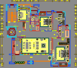 196平米中式风格住宅设计施工图(附效果图)
