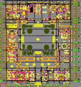 1257平米新中式风格二层别墅装修施工图(附效果图)