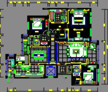 200平米风景御园住宅样板房装修施工图(附效果图)