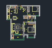 80平米混搭风格二居室住宅装修施工图(附效果图)