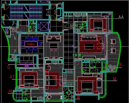 四居室住宅样板间装修设计图纸(含概念方案、物料、完工实景)